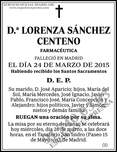 Lorenza Sánchez Centeno